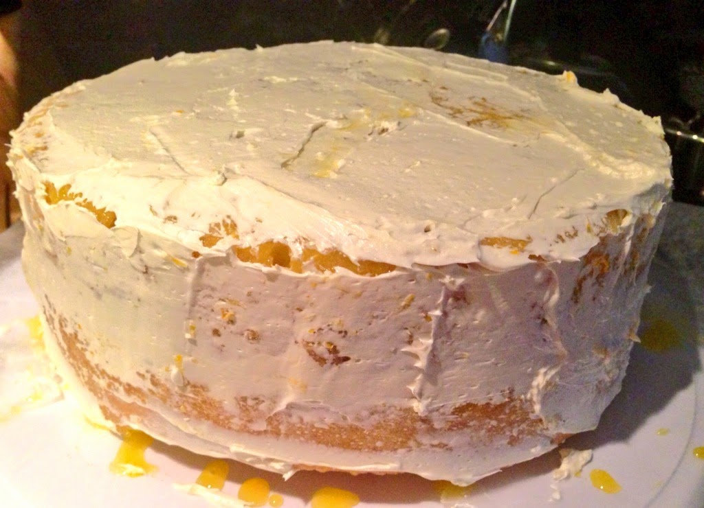 Lemon Curd Layer Cake Crumb Coat