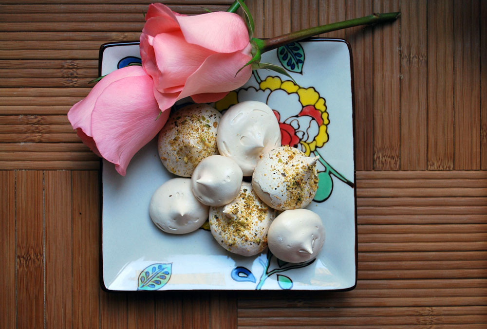Ahu Eats: Rose Infused Meringues with Pistachio Dust