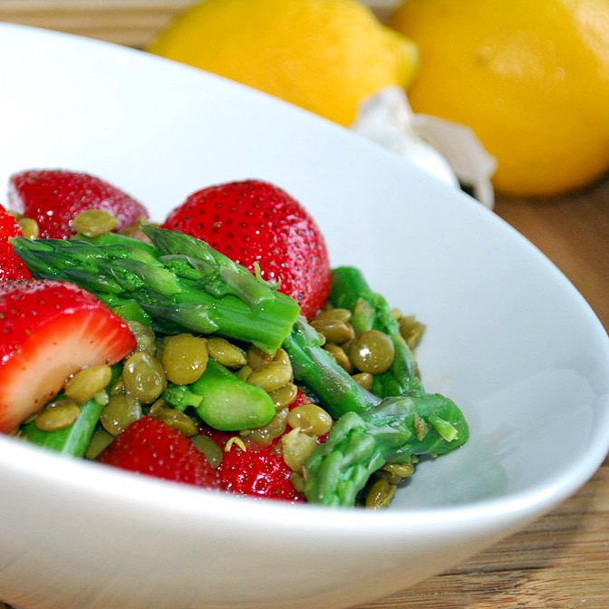 Summer Salad with Lentils, Asparagus and Macerated Strawberries