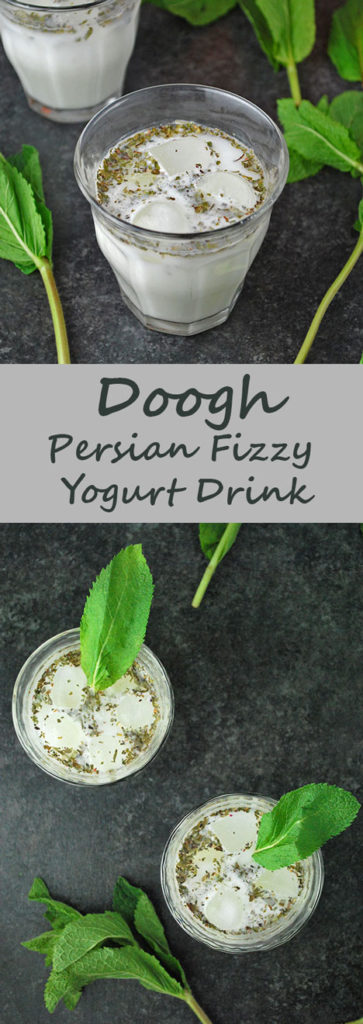 Doogh is a refreshing Persian drink of yogurt, mint and club soda. Enjoy this traditional Iranian drink when it's warm out or with a dinner of chelo kabob!