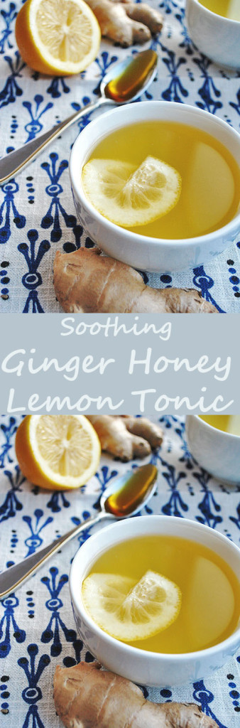Ginger Honey Lemon Tonic: a hot, caffeine-free alternative to tea. This drink helps fight off the sniffles, improve digestion or just comfort you.
